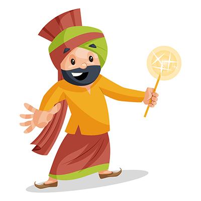 Punjabi Sardar is holding sparklers in hand