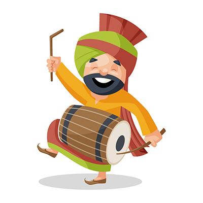 Punjabi Sardar is playing dhol and dancing