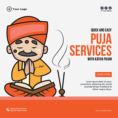 Quick and easy puja services banner template