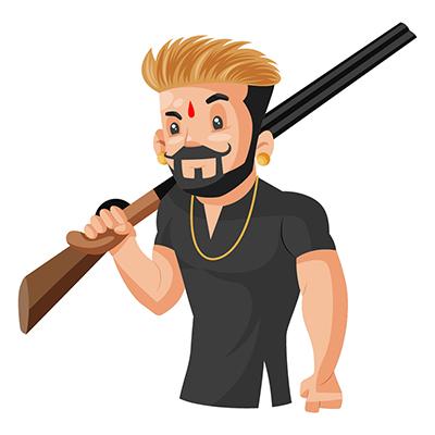 Rajput boy holding a gun in hand