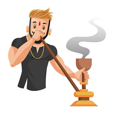 Rajput boy is smoking hookah