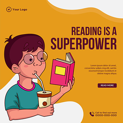 Reading is a superpower banner template