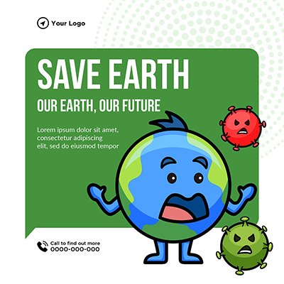 Save Earth our earth our future banner template