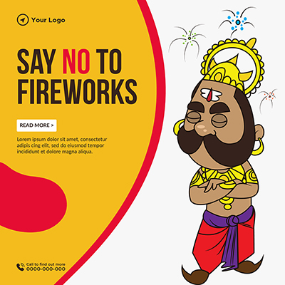 Say no to fireworks banner template design
