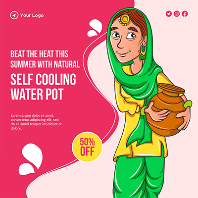 Self-cooling water pot banner template