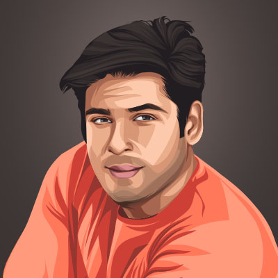 Siddharth Shukla Indian Actor and Celebrity Vector Illustration