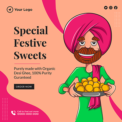Special festive sweets banner template