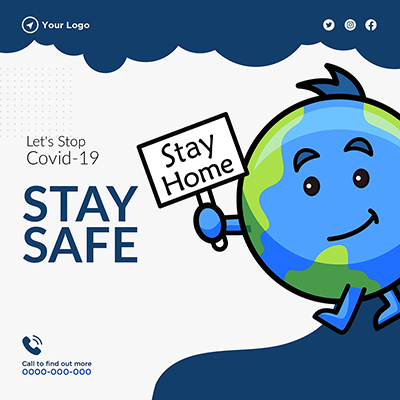 Stay home stay safe on banner template