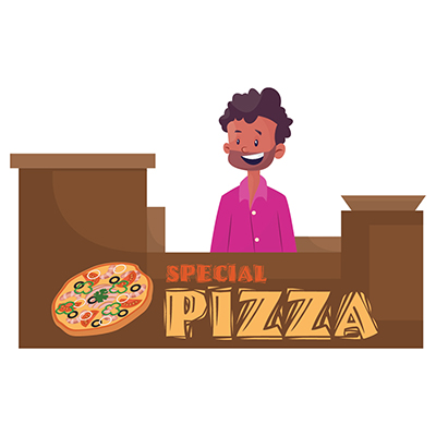 Street vendor is selling pizza on stall