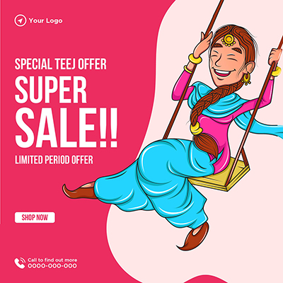 Super sale on special Teej offer banner template