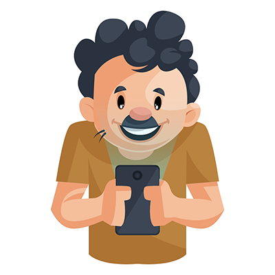 Sweeper is watching movie on mobile phone