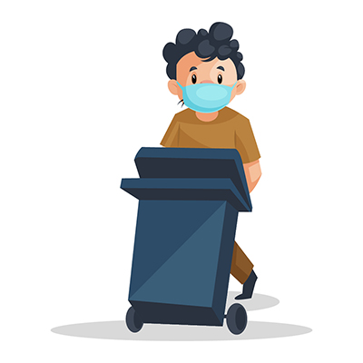 Sweeper is wearing a mask and holding dustbin