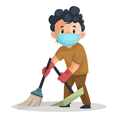 Sweeper is wearing a mask and holding mop in hand