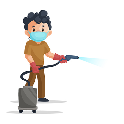 Sweeper is wearing mask and holding vacuum cleaner