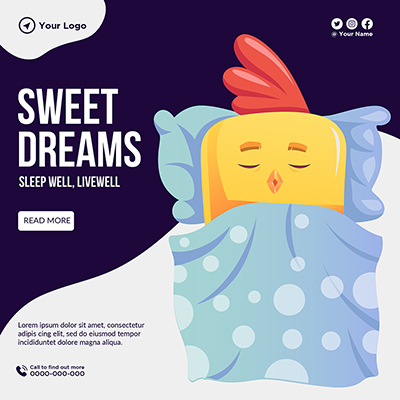 Sweet dreams sleep well to live well banner template