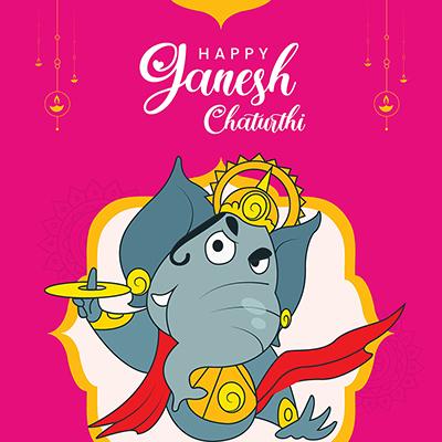 Template banner for happy Ganesh Chaturthi illustration