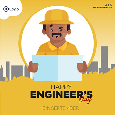 Template banner for happy engineer's day