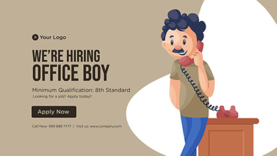 Template banner for we are hiring office boy