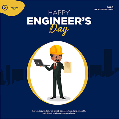 Template banner happy engineer's day