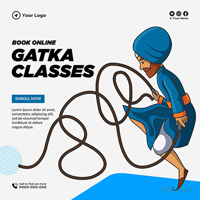 Template banner of book online for gatka classes