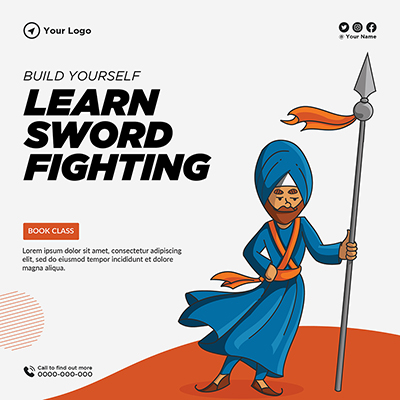 Template banner of build yourself and learn sword fighting