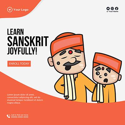 Template banner of learn Sanskrit joyfully