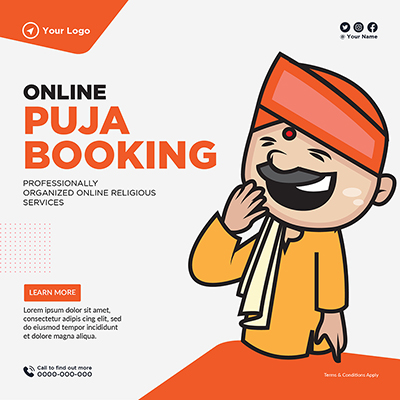 Template banner of online puja booking