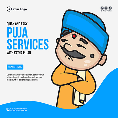 Template banner of quick and easy puja services