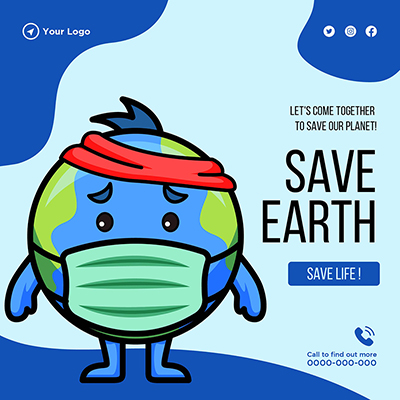 Template banner of save Earth save life