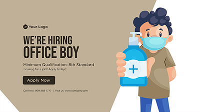 Template banner of we are hiring office boy
