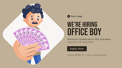 Template banner we are hiring office boy