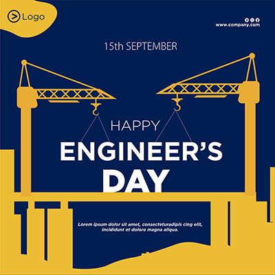 Template banner with happy engineer's day