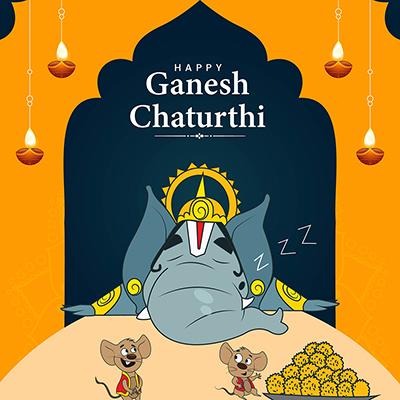 Template for happy Ganesh Chaturthi illustration