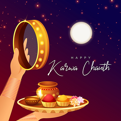Template for happy karwa chauth celebration