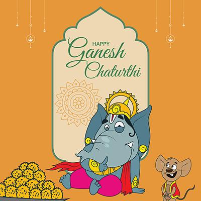Template of happy Ganesh Chaturthi illustration