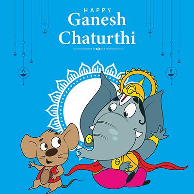 Template of happy Ganesh Chaturthi illustration banner