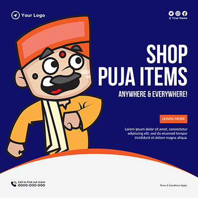 Template of shop puja items anywhere and everywhere