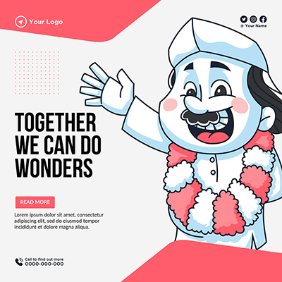 Together we can do wonder banner template