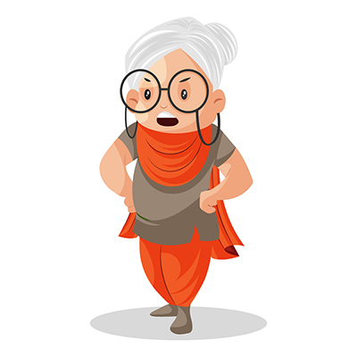 Vector illustration of an annoy granny