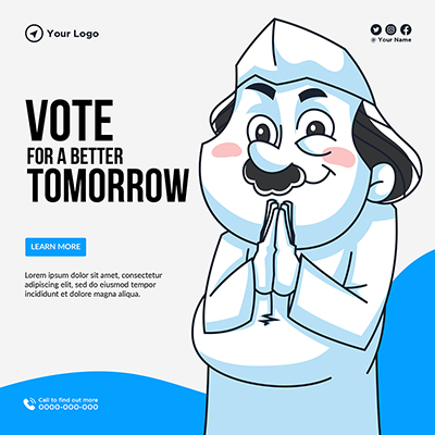 Vote for a better tomorrow banner template