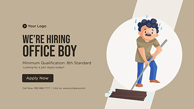 We are hiring office boy banner template design