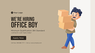 We are hiring office boy template banner