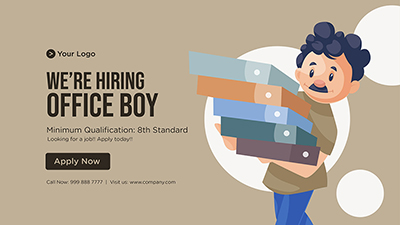 We are hiring office boy template banner design