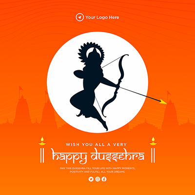 Wish you all very happy Dussehra banner template