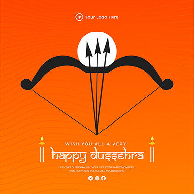 Wish you all very happy Dussehra template banner