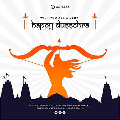 Wish you all very happy Dussehra template banner design
