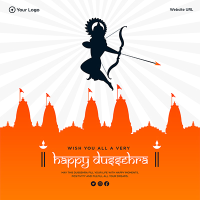 Wish you all very happy Dussehra template design