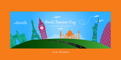World tourism day flat cover design template
