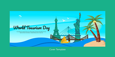 World tourism day flat cover page template