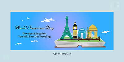 World tourism day flat cover template